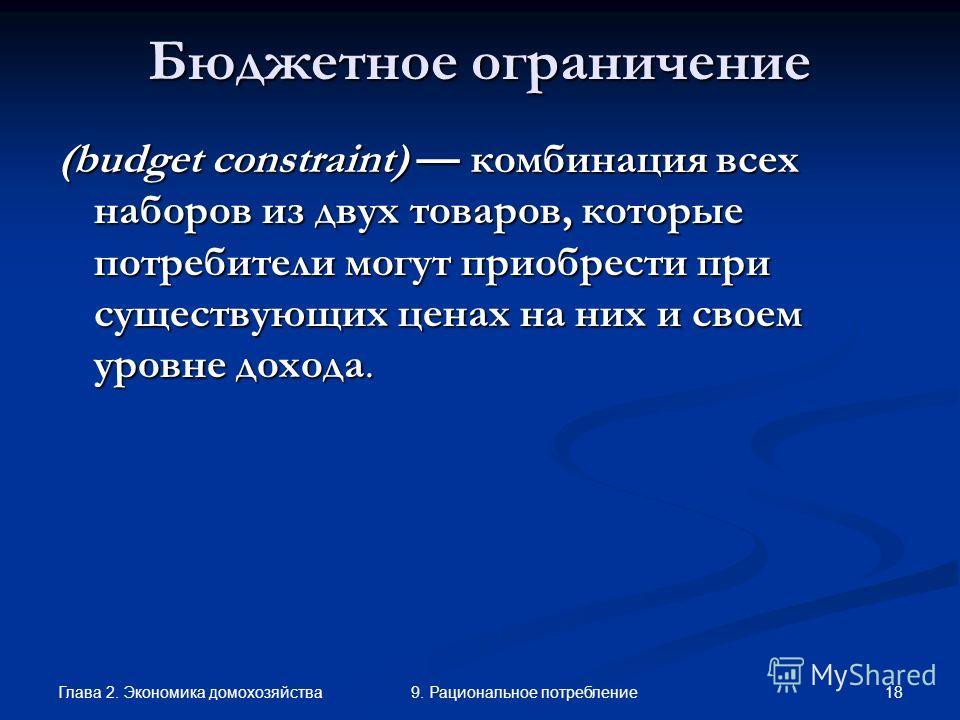 Глава 2. Экономика домохозяйства 189. Рациональное потребление Бюджетное ограничение (budget constraint) комбинация всех наборов из двух товаров, которые потребители могут приобрести при существующих ценах на них и своем уровне дохода.