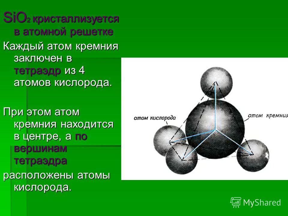 SiO 2 кристаллизуется в атомной решетке Каждый атом кремния заключен в тетраэдр из 4 атомов кислорода. При этом атом кремния находится в центре, а по вершинам тетраэдра расположены атомы кислорода.