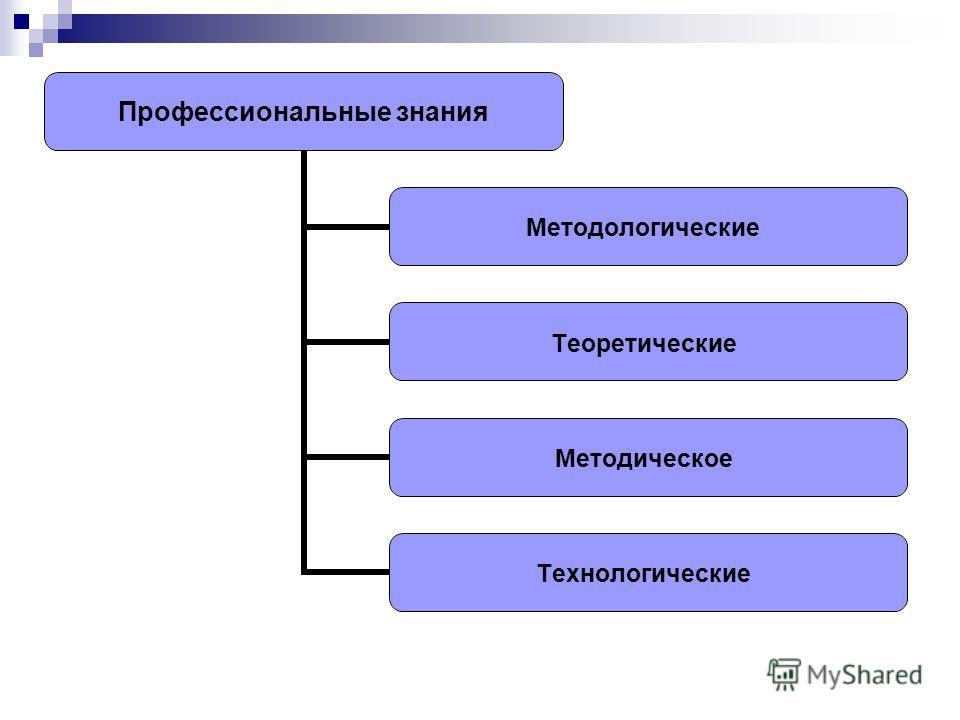 Профессиональные знания Методологические Теоретические Методическое Технологические