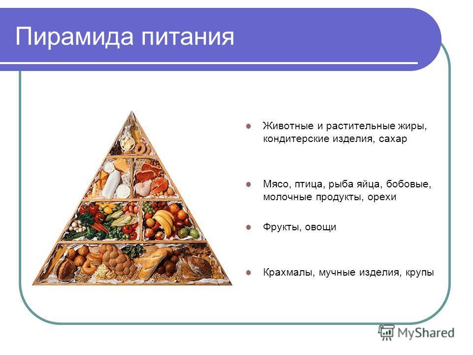 Пирамида питания Животные и растительные жиры, кондитерские изделия, сахар Мясо, птица, рыба яйца, бобовые, молочные продукты, орехи Фрукты, овощи Крахмалы, мучные изделия, крупы