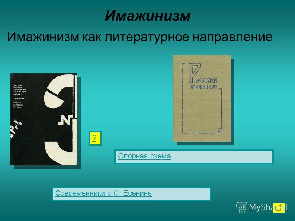 Имажинизм Имажинизм как литературное направление Опорная схема Современники о С. Есенине ?