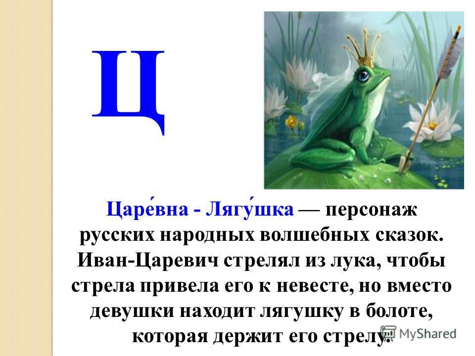 Царе́вна - Лягу́шка персонаж русских народных волшебных сказок. Иван-Царевич стрелял из лука, чтобы стрела привела его к невесте, но вместо девушки находит лягушку в болоте, которая держит его стрелу. Ц