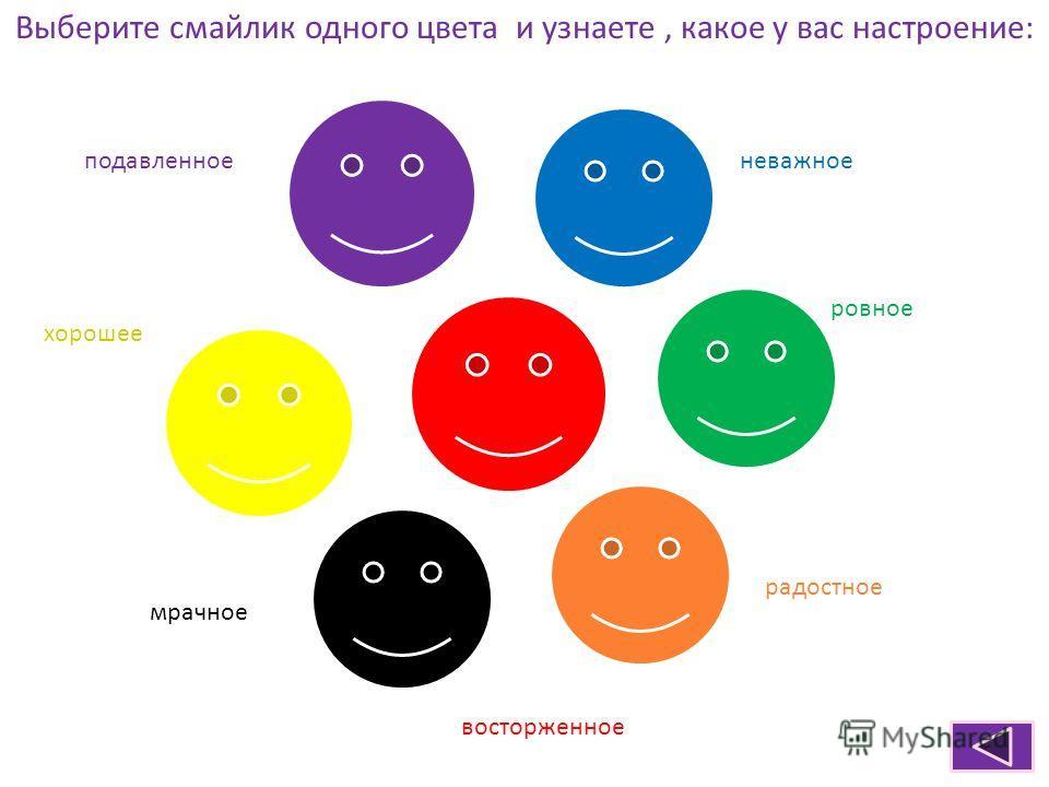 Выберите смайлик одного цвета и узнаете, какое у вас настроение: подавленноеневажное хорошее ровное радостное мрачное восторженное