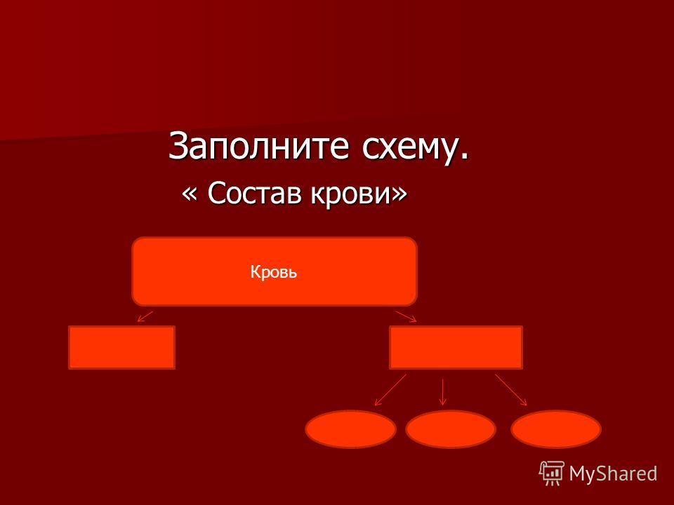 Заполните схему. Заполните схему. « Состав крови» « Состав крови» Кровь