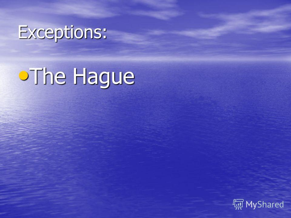 Exceptions: The Hague The Hague