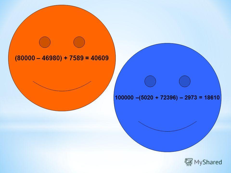 100000 –(5020 + 72396) – 2973 = 18610 (80000 – 46980) + 7589 = 40609