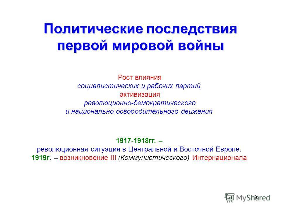 9 Политические последствия первой мировой войны Рост влияния социалистических и рабочих партий, активизация революционно-демократического и национально-освободительного движения 1917-1918гг. – революционная ситуация в Центральной и Восточной Европе.