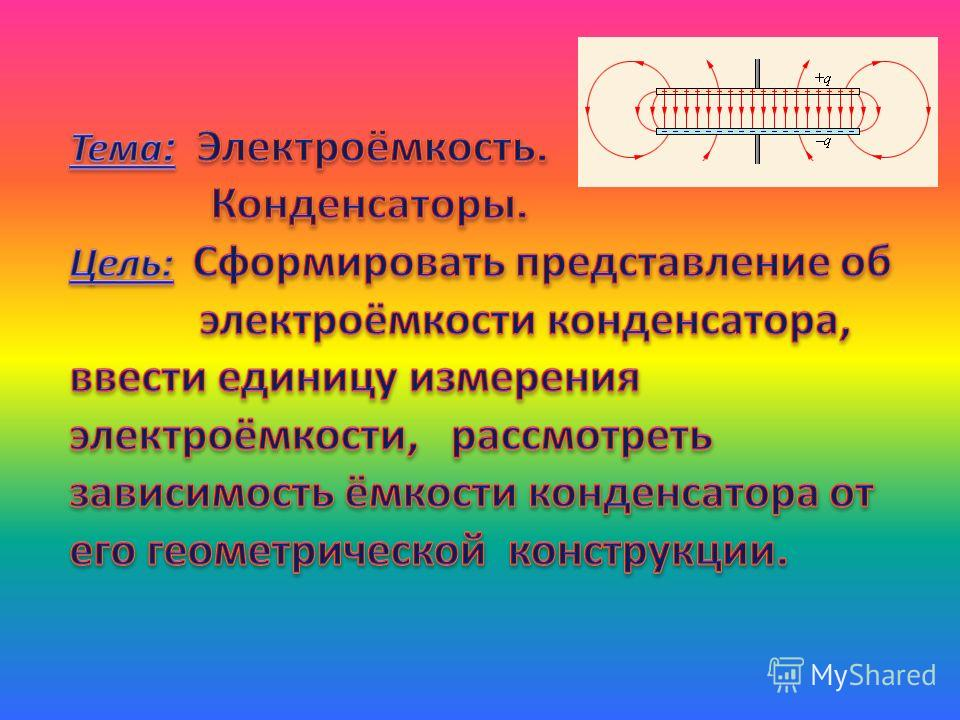 Мультимедийный урок по теме «Конденсаторы» Игнатова В.Н. учитель физики Новоалексеевской МОУ СОШ 6