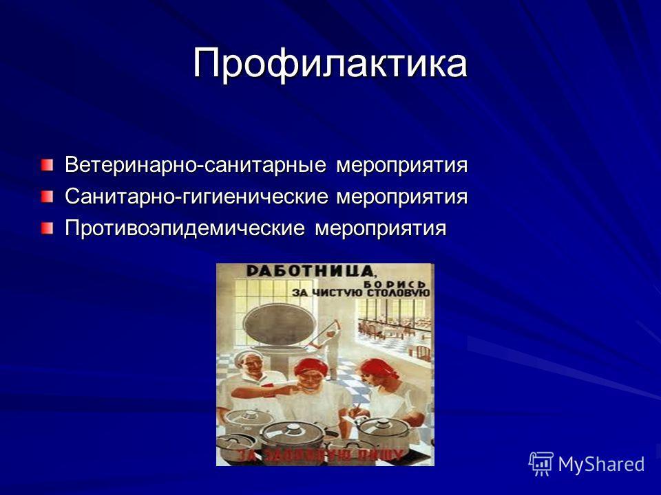 Профилактика Ветеринарно-санитарные мероприятия Санитарно-гигиенические мероприятия Противоэпидемические мероприятия