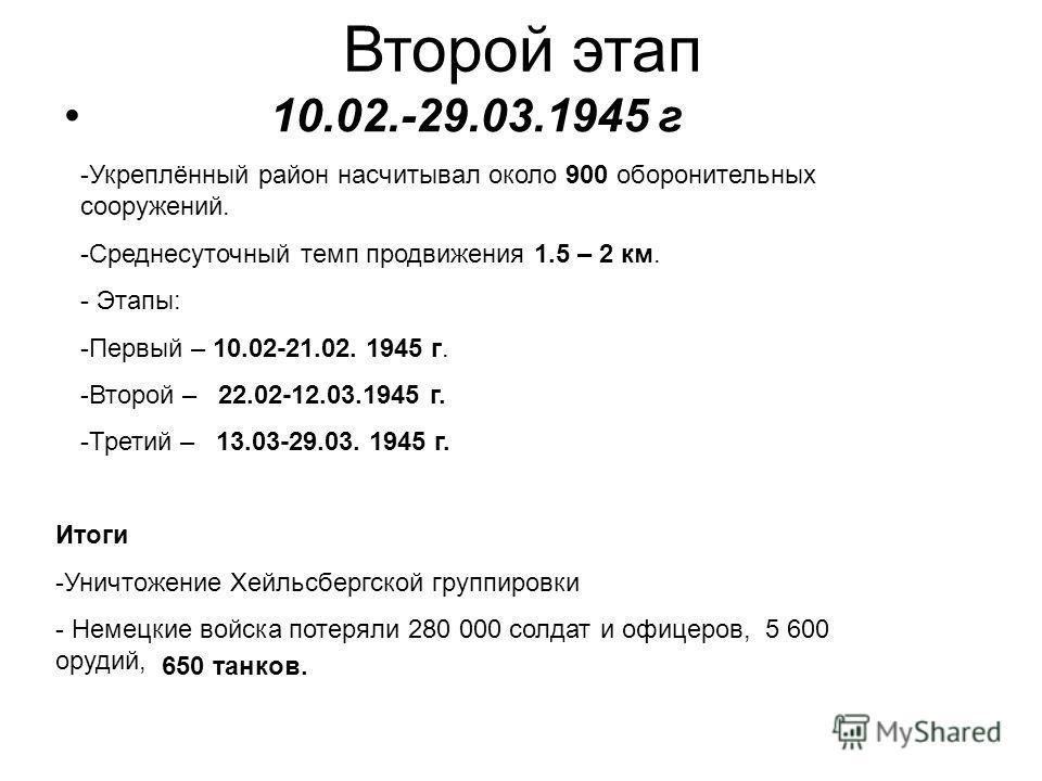 Второй этап 10.02.-29.03.1945 г Итоги -Уничтожение Хейльсбергской группировки - Немецкие войска потеряли 280 000 солдат и офицеров, 5 600 орудий, 650 танков. -Укреплённый район насчитывал около 900 оборонительных сооружений. -Среднесуточный темп прод