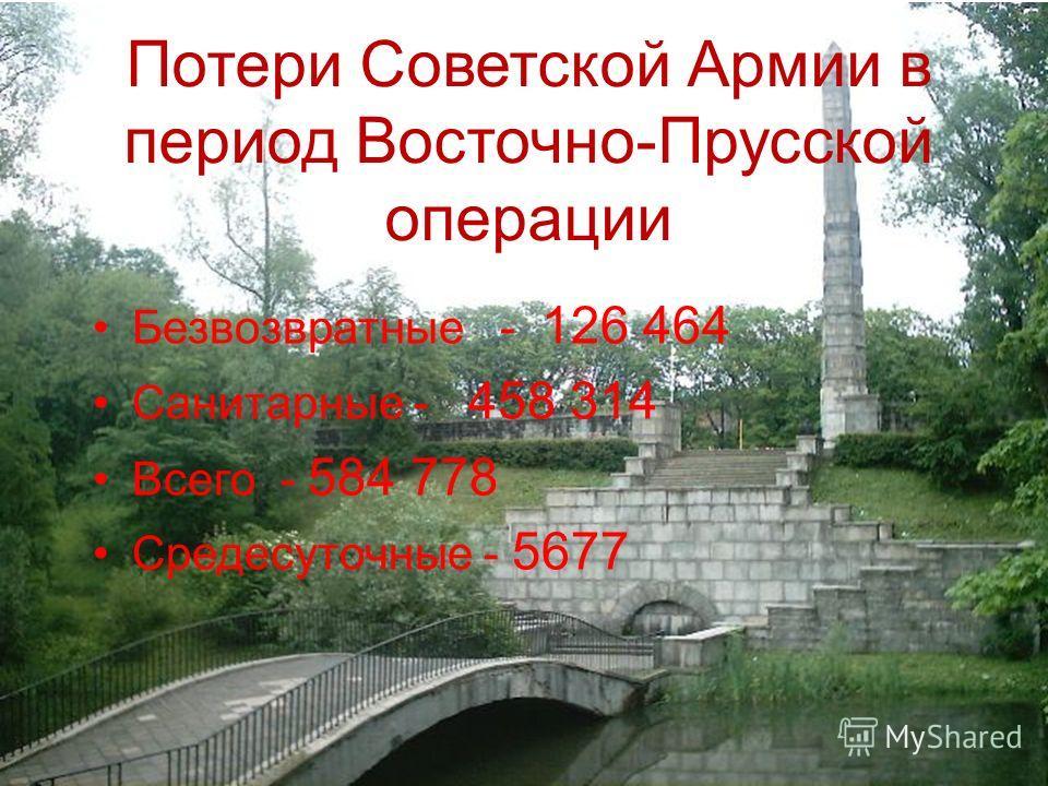 Потери Советской Армии в период Восточно-Прусской операции Безвозвратные - 126 464 Санитарные - 458 314 Всего - 584 778 Средесуточные - 5677