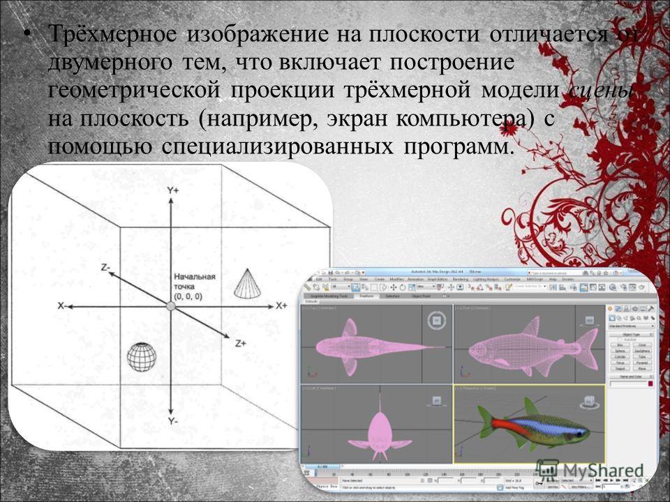 Трёхмерное изображение на плоскости отличается от двумерного тем, что включает построение геометрической проекции трёхмерной модели сцены на плоскость (например, экран компьютера) с помощью специализированных программ.