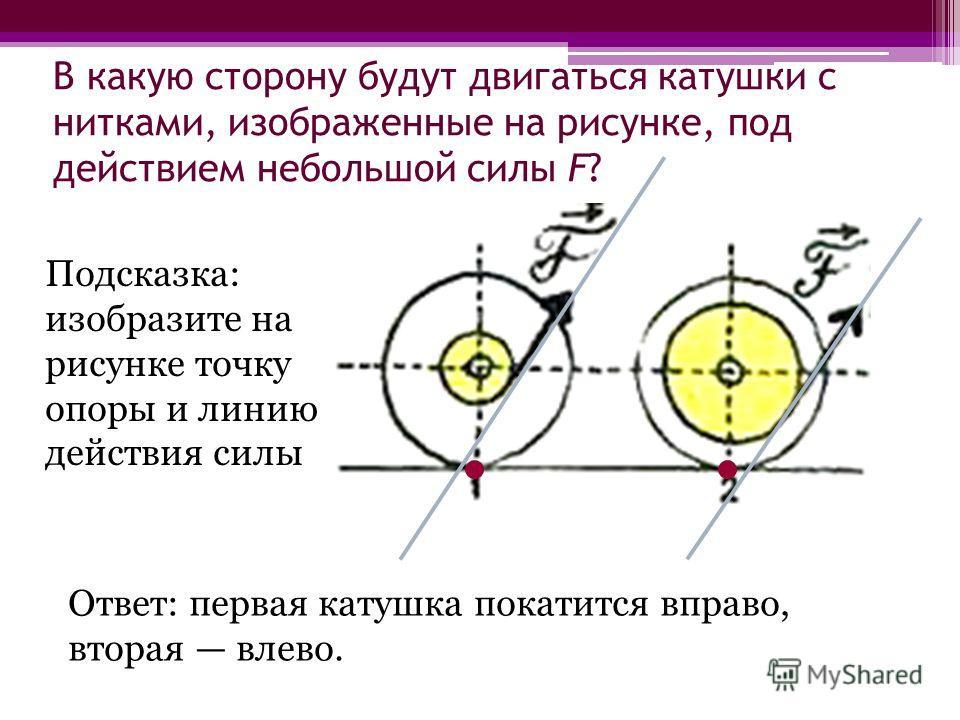 В какую сторону будут двигаться катушки с нитками, изображенные на рисунке, под действием небольшой силы F? Ответ: первая катушка покатится вправо, вторая влево. Подсказка: изобразите на рисунке точку опоры и линию действия силы