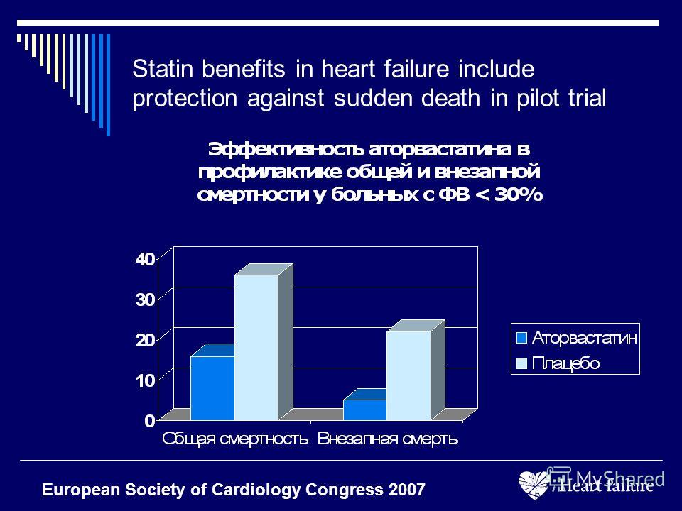 Statin benefits in heart failure include protection against sudden death in pilot trial European Society of Cardiology Congress 2007