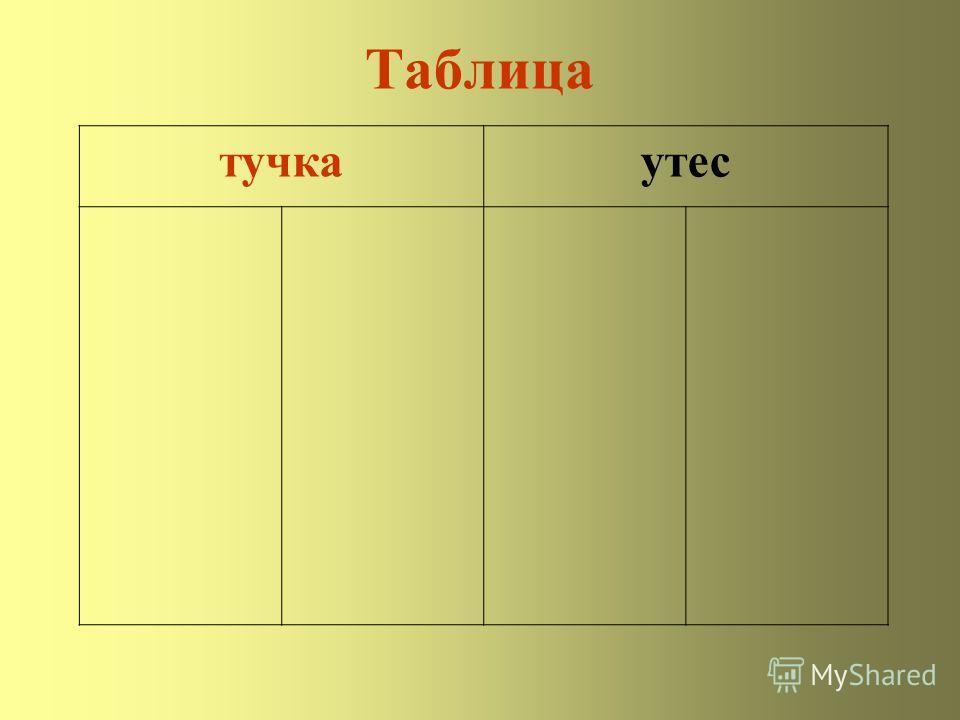 Таблица тучкаутес
