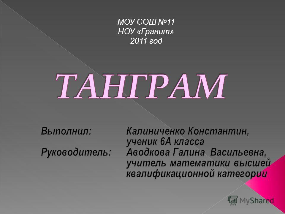 МОУ СОШ 11 НОУ «Гранит» 2011 год