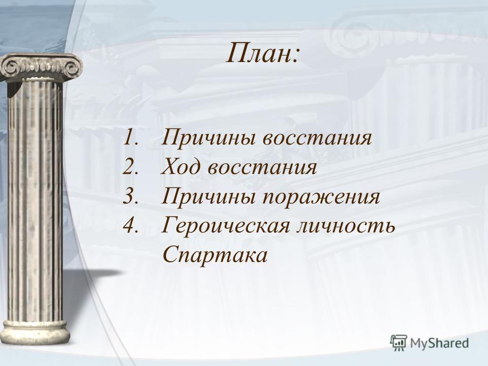 План: 1.Причины восстания 2.Ход восстания 3.Причины поражения 4.Героическая личность Спартака