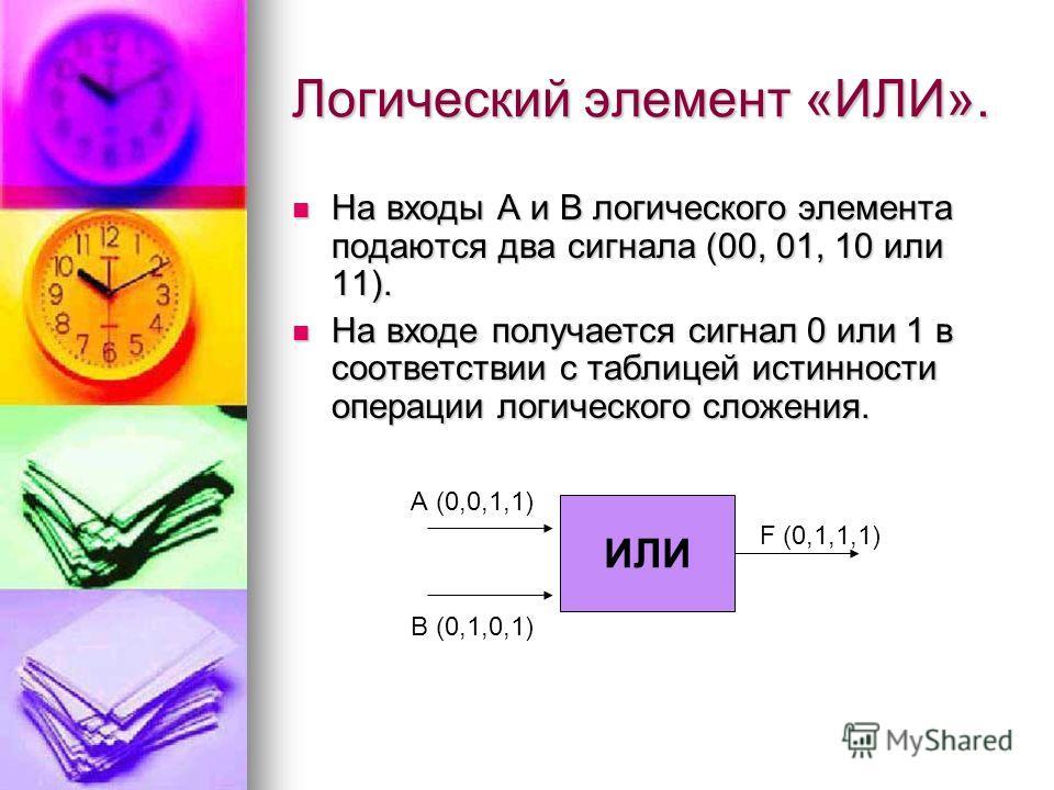 Логический элемент «ИЛИ». На входы А и В логического элемента подаются два сигнала (00, 01, 10 или 11). На входы А и В логического элемента подаются два сигнала (00, 01, 10 или 11). На входе получается сигнал 0 или 1 в соответствии с таблицей истинно