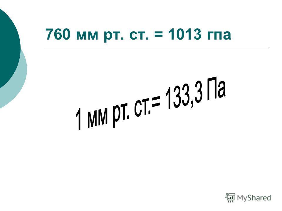 760 мм рт. ст. = 1013 гпа