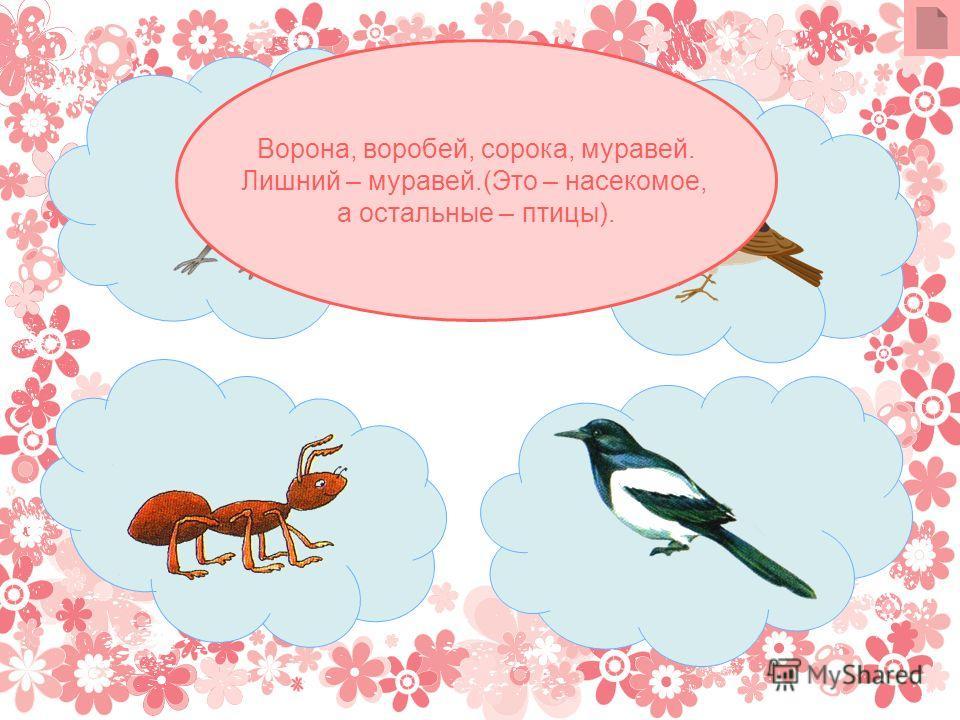 Ворона, воробей, сорока, муравей. Лишний – муравей.(Это – насекомое, а остальные – птицы).