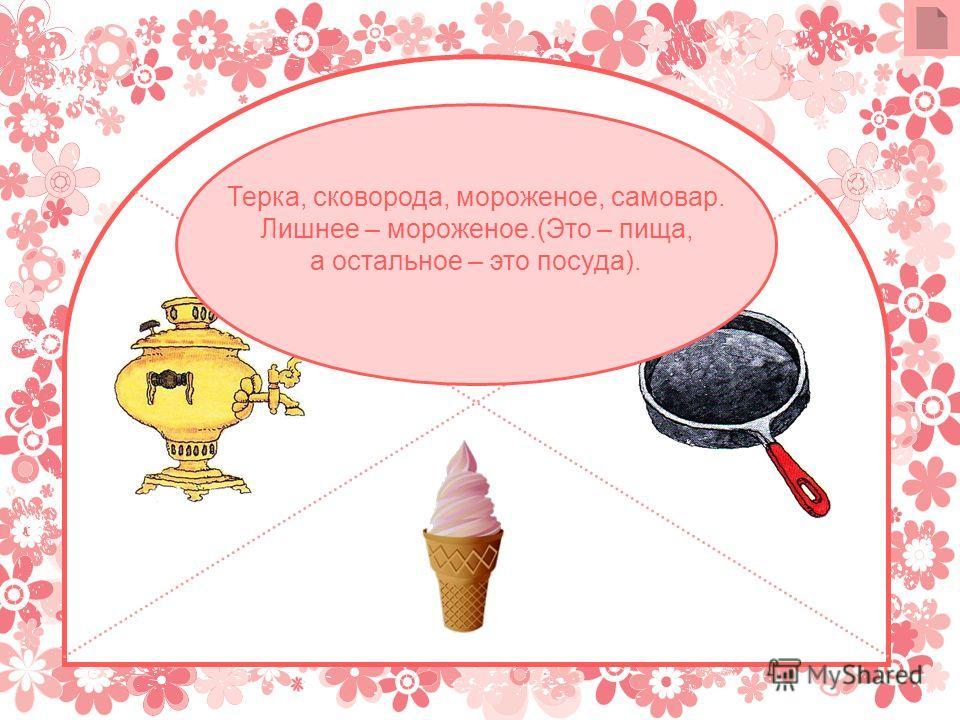 Терка, сковорода, мороженое, самовар. Лишнее – мороженое.(Это – пища, а остальное – это посуда).