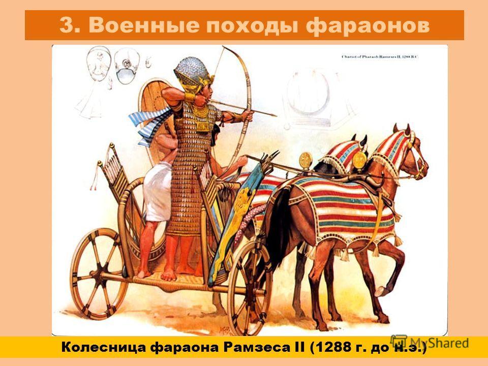 3. Военные походы фараонов Колесница фараона Рамзеса II (1288 г. до н.э.)