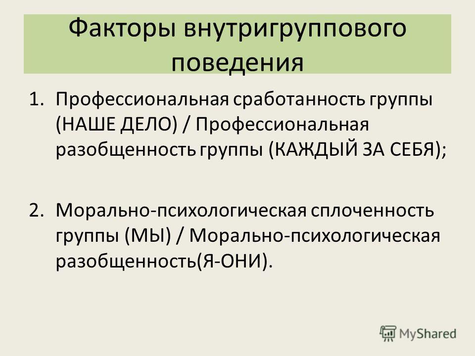 Факторы внутригруппового поведения 1.Профессиональная сработанность группы (НАШЕ ДЕЛО) / Профессиональная разобщенность группы (КАЖДЫЙ ЗА СЕБЯ); 2.Морально-психологическая сплоченность группы (МЫ) / Морально-психологическая разобщенность(Я-ОНИ).