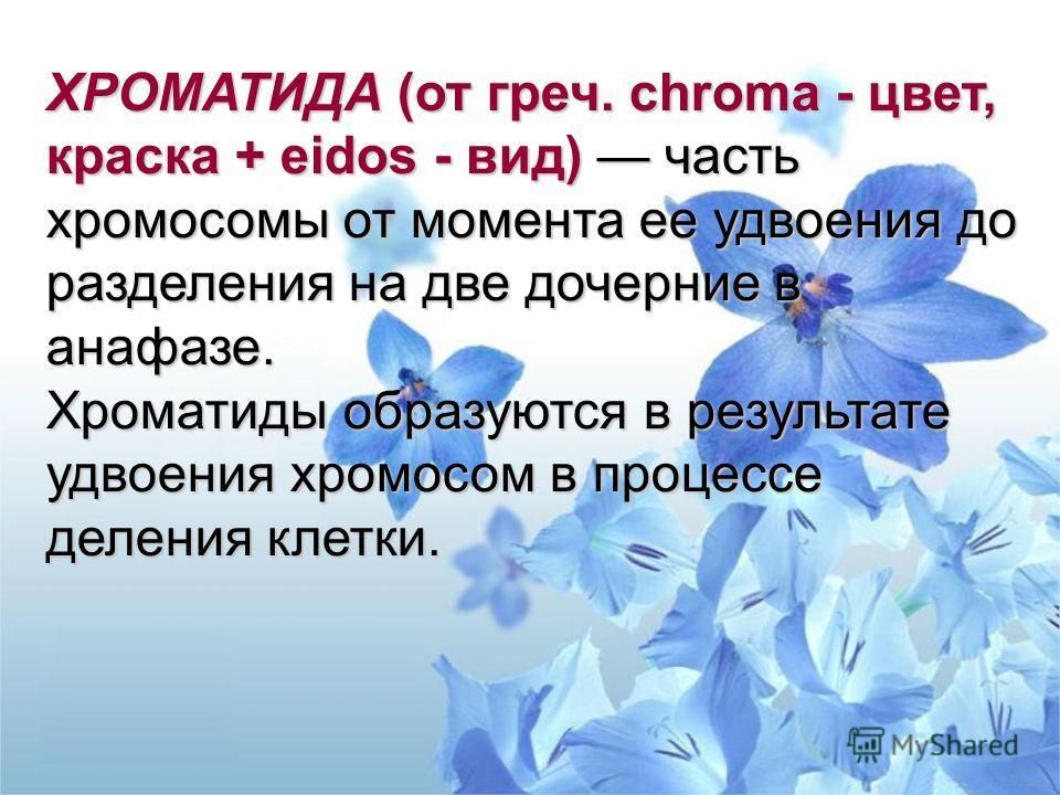 ХРОМАТИДА (от греч. chroma - цвет, краска + eidos - вид) часть хромосомы от момента ее удвоения до разделения на две дочерние в анафазе. Хроматиды образуются в результате удвоения хромосом в процессе деления клетки.