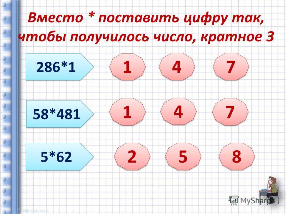 Вместо * поставить цифру так, чтобы получилось число, кратное 3 286*1 58*481 5*62 1 1 4 4 7 7 1 1 4 4 7 7 2 2 5 5 8 8
