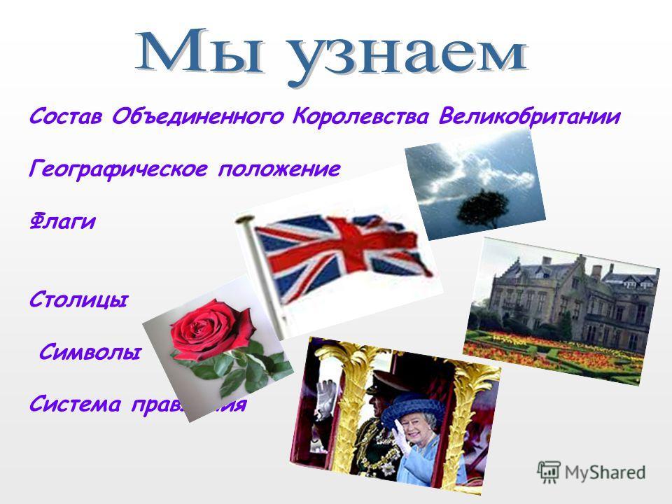 Состав Объединенного Королевства Великобритании Географическое положение Флаги Столицы Символы Система правления