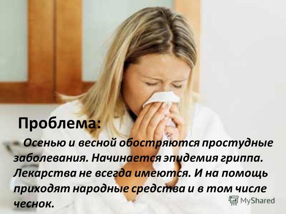 Проблема: Осенью и весной обостряются простудные заболевания. Начинается эпидемия гриппа. Лекарства не всегда имеются. И на помощь приходят народные средства и в том числе чеснок.