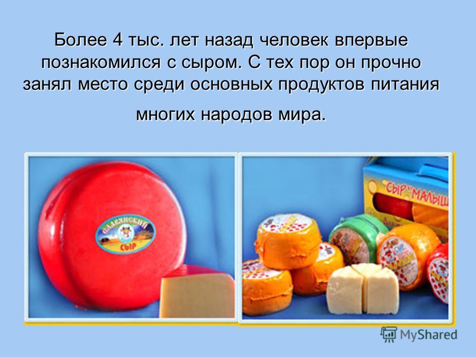 Более 4 тыс. лет назад человек впервые познакомился с сыром. С тех пор он прочно занял место среди основных продуктов питания многих народов мира.