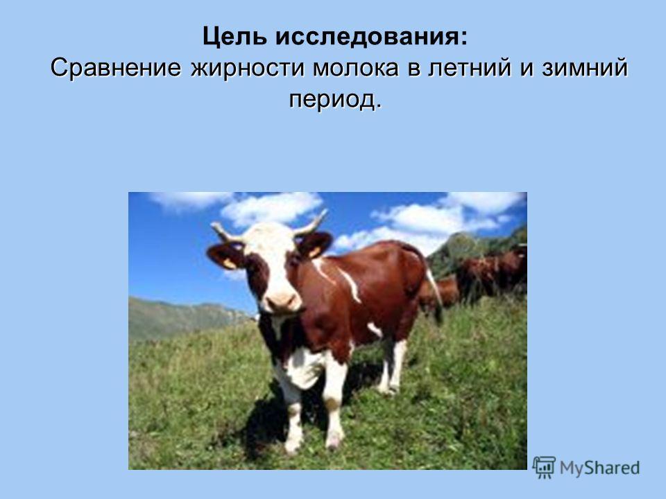 Сравнение жирности молока в летний и зимний период. Цель исследования: Сравнение жирности молока в летний и зимний период.
