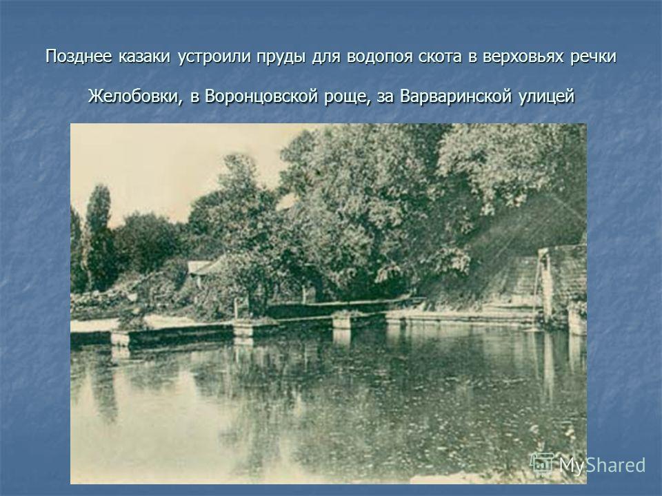 Позднее казаки устроили пруды для водопоя скота в верховьях речки Желобовки, в Воронцовской роще, за Варваринской улицей