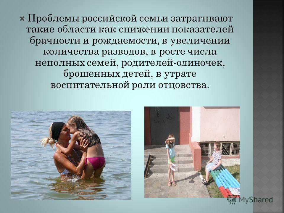 Проблемы российской семьи затрагивают такие области как снижении показателей брачности и рождаемости, в увеличении количества разводов, в росте числа неполных семей, родителей-одиночек, брошенных детей, в утрате воспитательной роли отцовства.