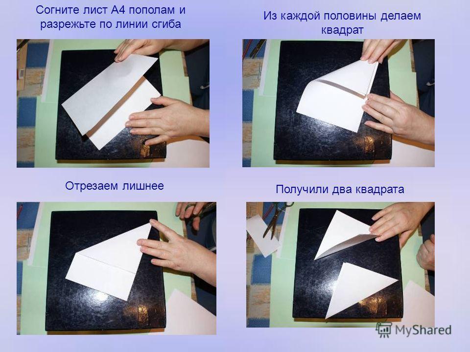 Согните лист А4 пополам и разрежьте по линии сгиба Из каждой половины делаем квадрат Отрезаем лишнее Получили два квадрата
