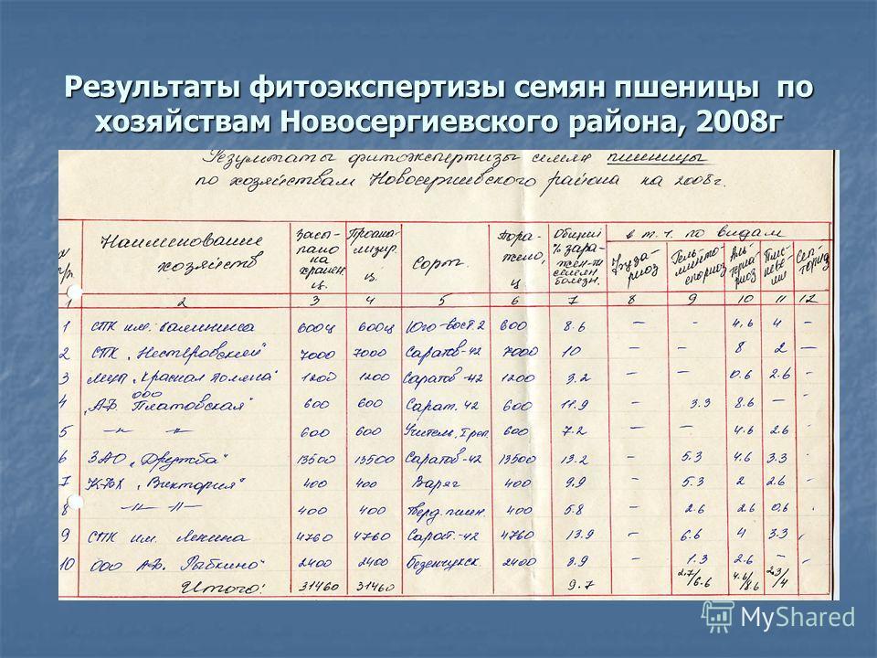 Результаты фитоэкспертизы семян пшеницы по хозяйствам Новосергиевского района, 2008г
