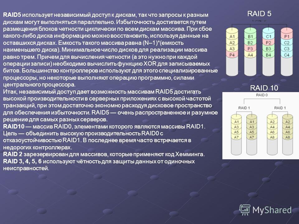 RAID5 использует независимый доступ к дискам, так что запросы к разным дискам могут выполняться параллельно. Избыточность достигается путем размещения блоков четности циклически по всем дискам массива. При сбое какого-либо диска информацию можно восс