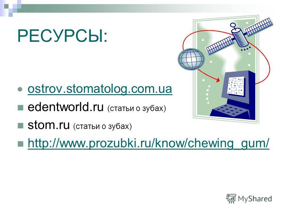 РЕСУРСЫ: ostrov.stomatolog.com.ua edentworld.ru (статьи о зубах) stom.ru (статьи о зубах) http://www.prozubki.ru/know/chewing_gum/