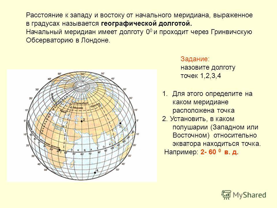 Расстояние к западу и востоку от начального меридиана, выраженное в градусах называется географической долготой. Начальный меридиан имеет долготу 0 0 и проходит через Гринвичскую Обсерваторию в Лондоне. Задание: назовите долготу точек 1,2,3,4 1.Для э