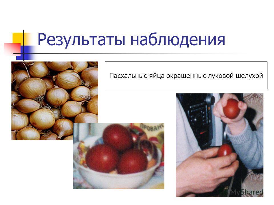 Результаты наблюдения Пасхальные яйца окрашенные луковой шелухой