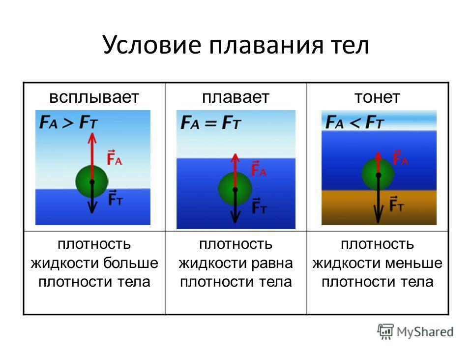 всплываетплаваеттонет плотность жидкости больше плотности тела плотность жидкости равна плотности тела плотность жидкости меньше плотности тела Условие плавания тел