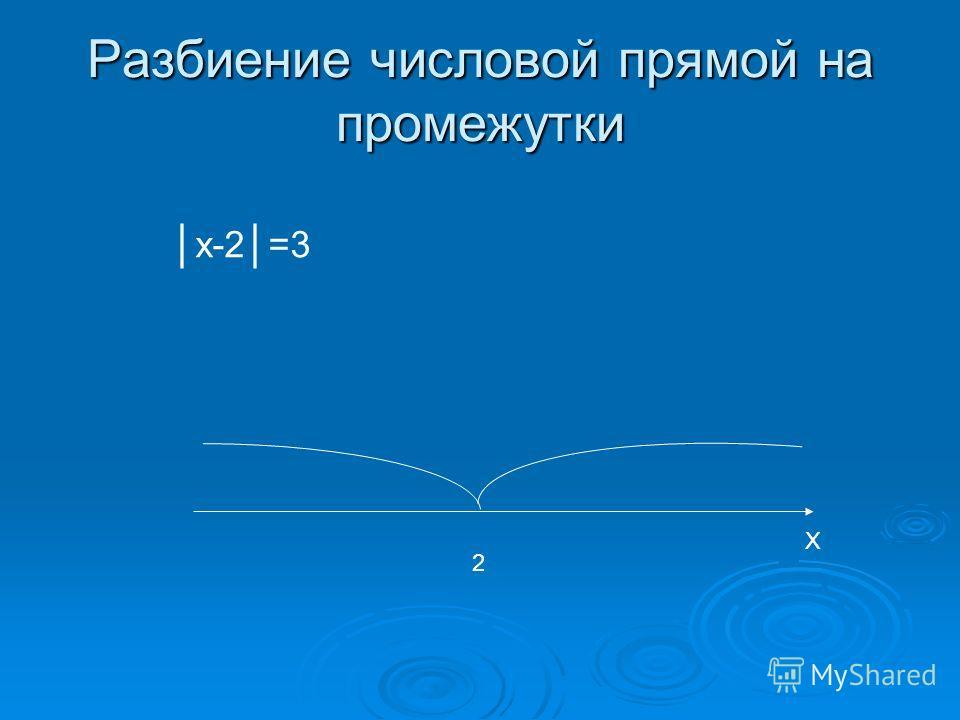 Разбиение числовой прямой на промежутки 2 X x-2=3