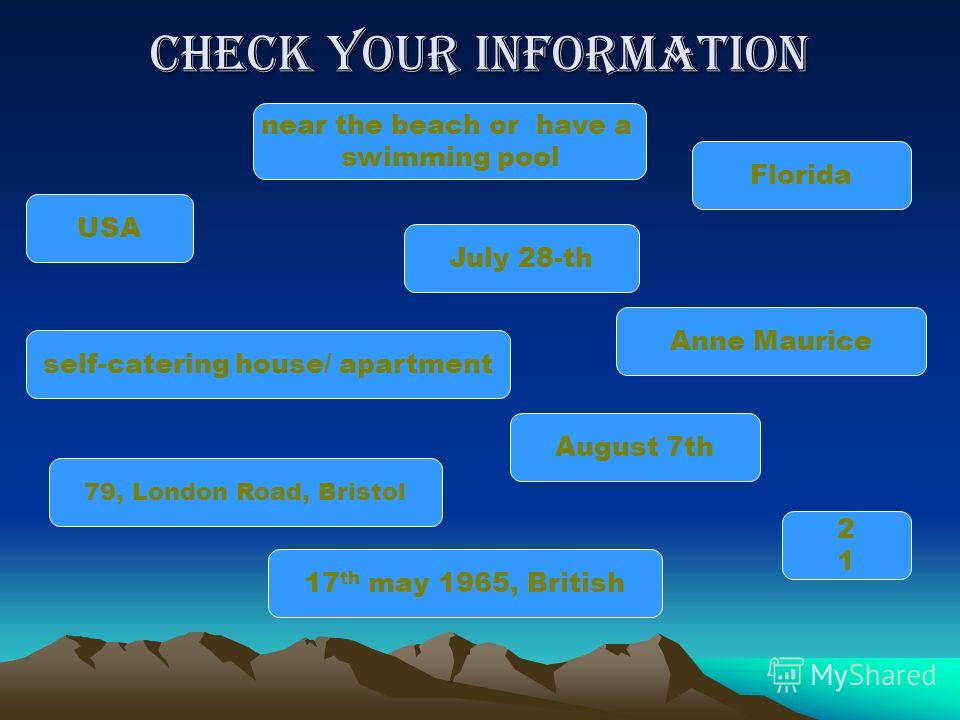 Check your information July 28-th Anne Maurice near the beach or have a swimming pool Florida 17 th may 1965, British August 7th 79, London Road, Bristol self-catering house/ apartment 2121 USA