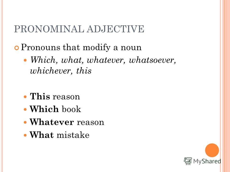 PRONOMINAL ADJECTIVE Pronouns that modify a noun Which, what, whatever, whatsoever, whichever, this This reason Which book Whatever reason What mistake