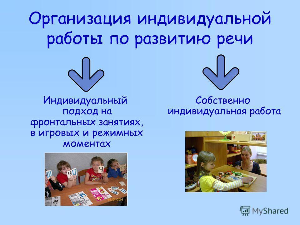 Организация индивидуальной работы по развитию речи Индивидуальный подход на фронтальных занятиях, в игровых и режимных моментах Собственно индивидуальная работа