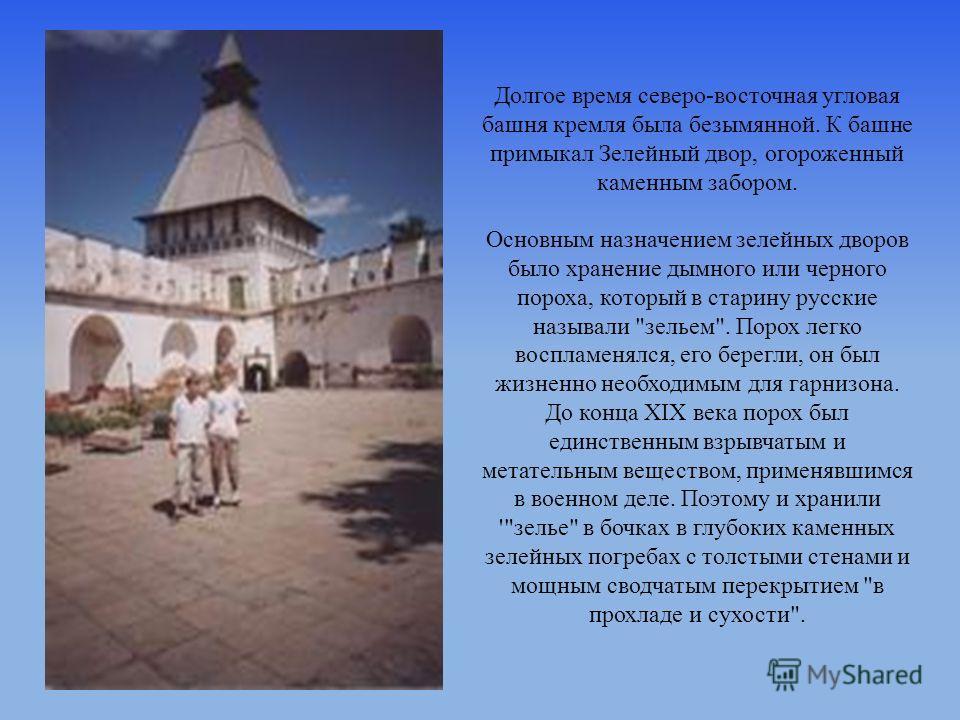 Долгое время северо-восточная угловая башня кремля была безымянной. К башне примыкал Зелейный двор, огороженный каменным забором. Основным назначением зелейных дворов было хранение дымного или черного пороха, который в старину русские называли