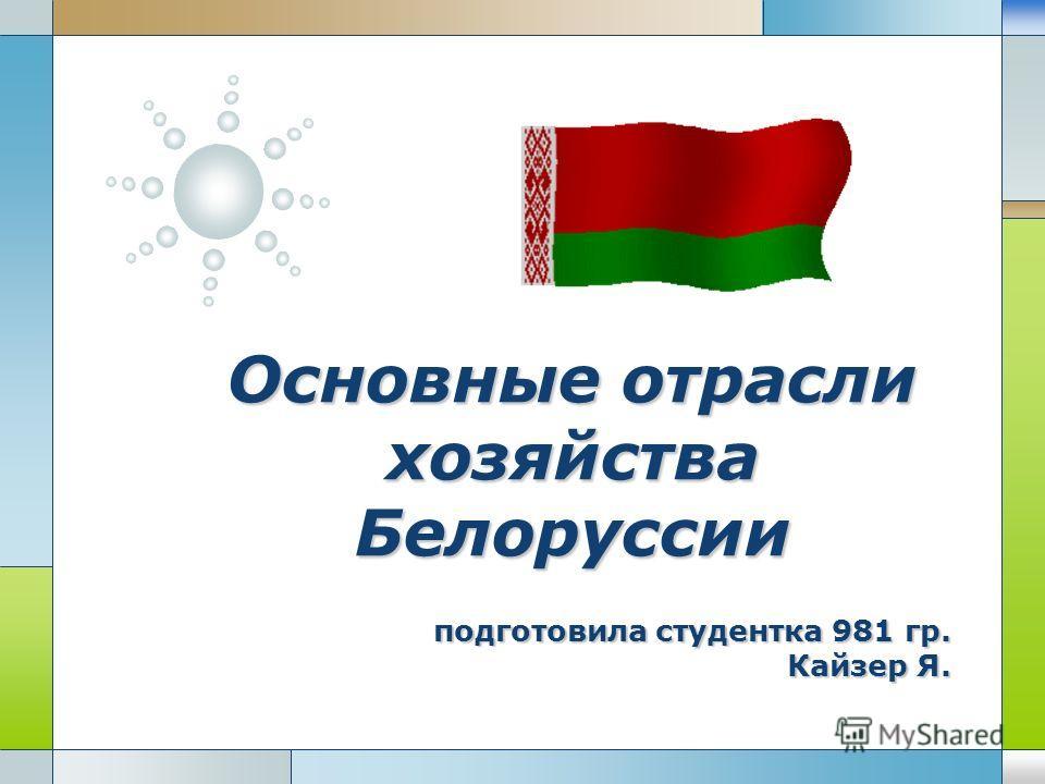 LOGO Основные отрасли хозяйства Белоруссии подготовила студентка 981 гр. Кайзер Я.