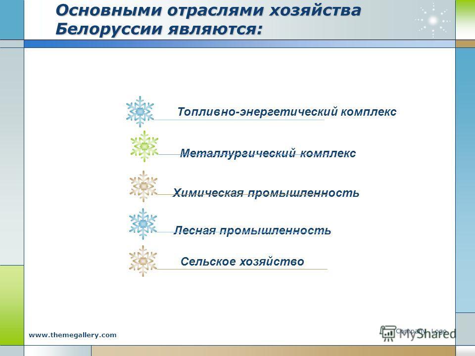 Company Logo www.themegallery.com Основными отраслями хозяйства Белоруссии являются: Топливно-энергетический комплекс Металлургический комплексХимическая промышленность Лесная промышленность Сельское хозяйство