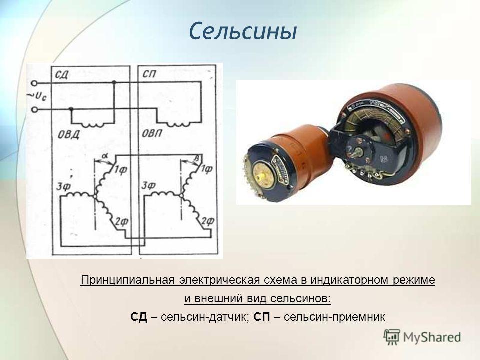 Сельсины Принципиальная электрическая схема в индикаторном режиме и внешний вид сельсинов: СД – сельсин-датчик; СП – сельсин-приемник